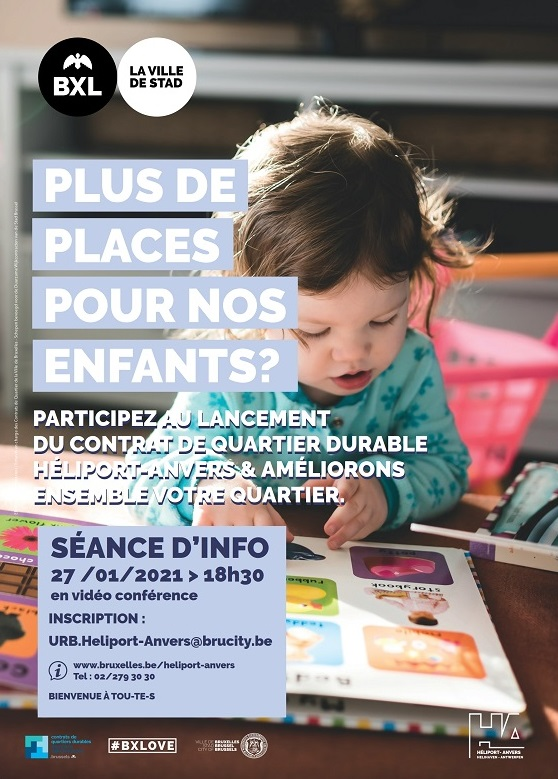 Affiche session d'info contrat de quartier Héliport-Anvers - plus de place pour nos enfants ?