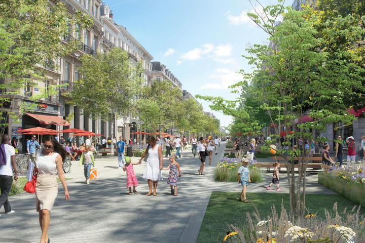 Travaux boulevard Anspach entre rue des Pierres et rue des Teinturiers